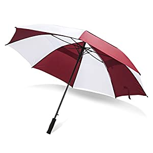Extra Large Windproof Golf Umbrella: 62 Inch Automatic Open Outdoor Ribbed Fiberglass Frame Rain Umbrellas - Sturdy Oversized Double Vented Canopy & Waterproof Sun Shield for Men & Women