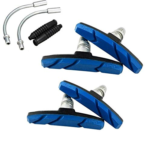 Pads Brake Kit Brake Shoes Pads Cable Guide Protector 8 in One 70mm Bicycle V-Brake Pad Set Work for All Shimano Sram MTB V-Brake System 2pairs(4 Pieces) (Blue) ()