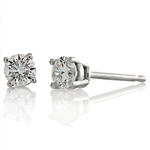 0.375ct tw Round Full Cut White Diamond 14K White Gold Stud Earrings Basket Setting (G-H SI3-I1)