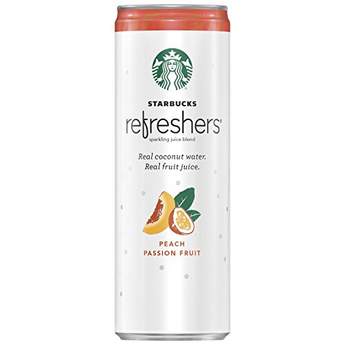 Starbucks Refreshers, Peach Passion Fruit with Coconut Water, 12 Ounce Cans, (pack of 12) (packaging may vary) (Starbucks Ice Tea Green)