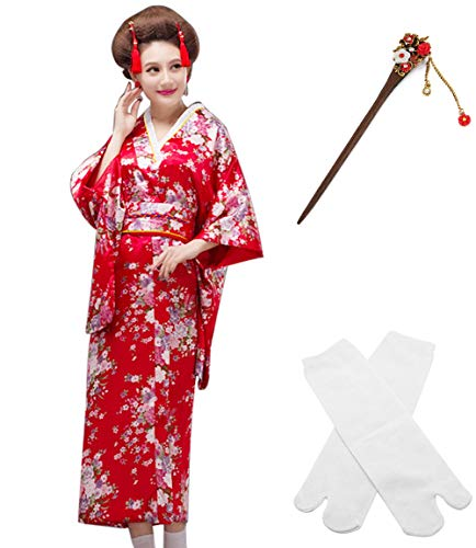 Japanese Anime Lolita Cherry Sakura Flower Printing Kimono Costumes Fancy Dress Hairpin tabi Socks Set(CHF008) -
