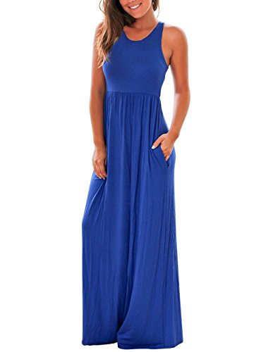 RAISEVERN Women's Casual Basic Elastic Empire Waist Stretch Jersey Comfy Maxi Beach Summer Dress Large Blue (Maternity Empire Jersey Waist)