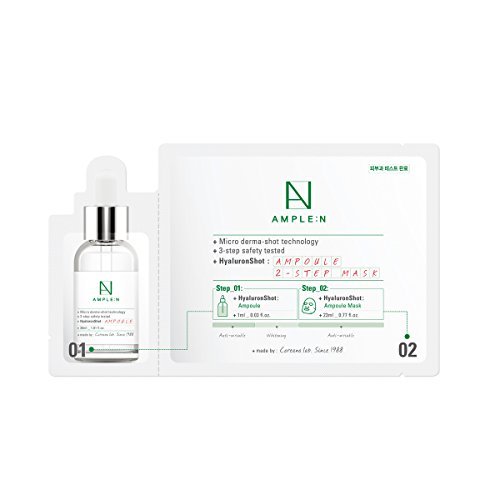 [AMPLE:N] Hyaluron Shot Ampoule 2 Step Mask Pack of 10 - Hyaluronic Acid Ampoule & Korean Mask Sheet, Moisturizing & Skin Soothing, High Adhesive Natural Cellulose Sheet