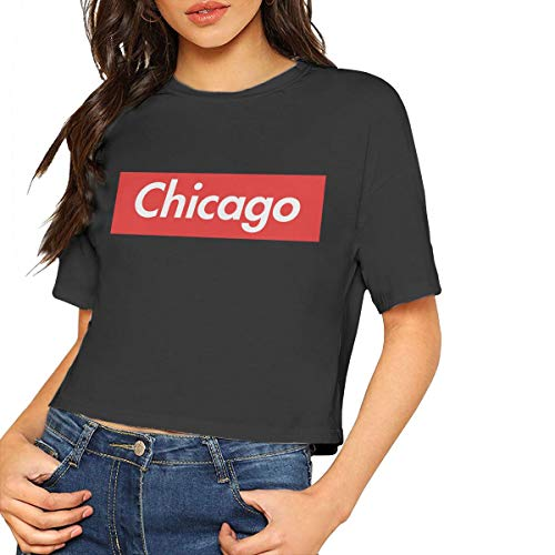- Customized Women Chicago Reigns Supreme Short T Shirts Printed Crop Top Black