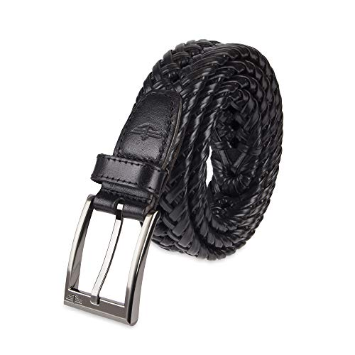 Dockers Men's 1 3/16 In. Glazed Top Braided Belt-black/silver buckley, 42