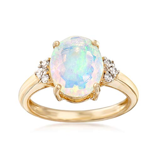 (Ross-Simons 11x9mm Ethiopian Opal Ring With .10 ct. t.w. Diamonds in 14kt Yellow Gold)