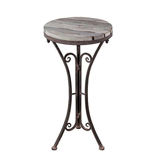 Privilege International Round Plant Stand - Iron & Wood (Transitional Natural Iron)