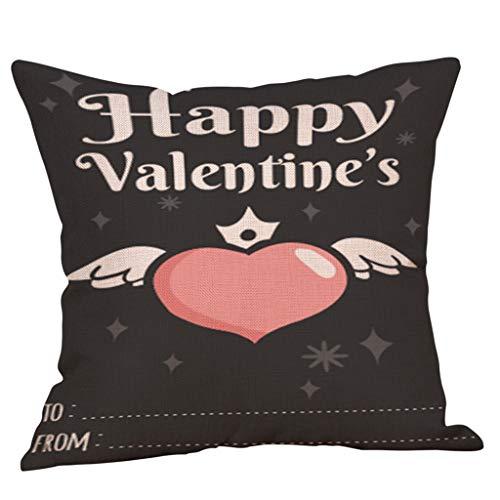 (Littay Pillowcase Happy Valentine Pillow Cases Linen Sofa Cushion Cover Home Decor Pillow)