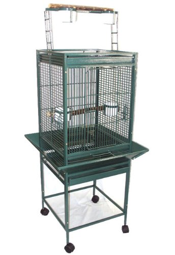 YML 1/2-Inch Bar Spacing Play Top Wrought Iron Parrot Cage, 18-Inch by 18-Inch in Green by YML