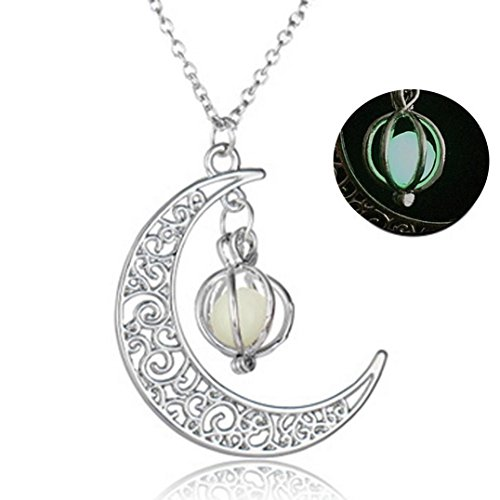WensLTD Clearance! Glow In The Dark Luminous Necklace Moon&Pumpkin Pendant Silver Plated (Green-1) (Pendant Phone Silver Plated)