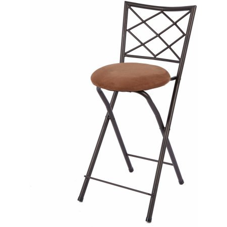 Yopih Diamond X-Back Folding 24 Counter Stool, Bronze with Beige Microfiber Cushion
