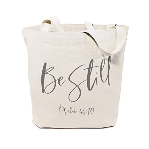 Christian Religious Tote Bag - The Cotton & Canvas Co. Be Still, Psalm 46:10 Beach, Shopping and Travel Resusable Shoulder Tote and Religious Bible Verse Handbag