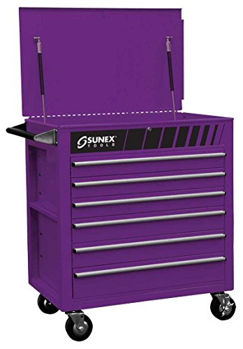 Sunex 8057P Premium Five Drawer Service Cart- Purple from Sunex Tools