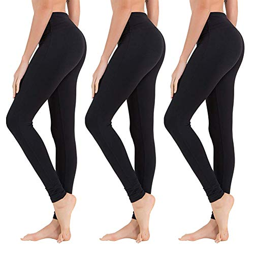 High Waisted Leggings for Women - Opaque Slim Tummy Control Pants for Yoga Workout Running (3 Pack Black, One Size (US 2-12))