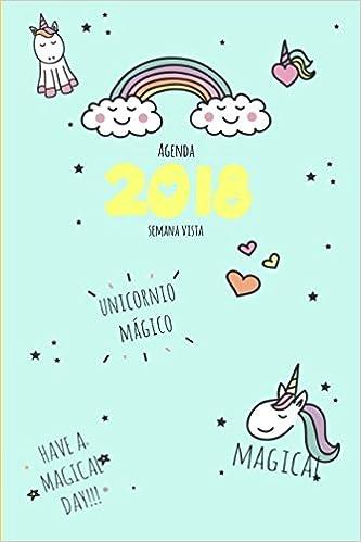 Agenda 2018 semana vista: unicornio mágico Lindo Kawaii ...