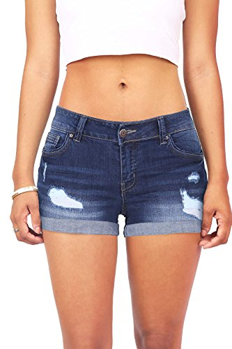 (Wax Women's Juniors Body Enhancing Denim Shorts, Dark Denim, Large)