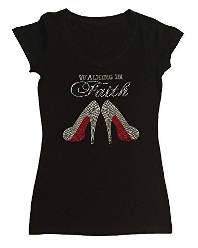 Faith Womens Cap Sleeve T-shirt - Womens T-shirt with Walk in Faith with Heels in Rhinestones (1X, Black Cap Sleeve)