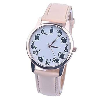 DressLksnf_Reloj Moda para Mujer Pulsera del Reloj Metal Durable Brazalete de Reloj Bonito Cadena de Cuero Elegante Superficie de Estampado Gato Mono: ...