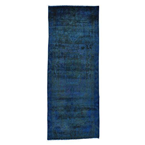 Persian Nahavand Overdyed Runner Hand-Knotted Oriental Rug (3'9