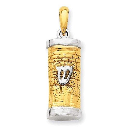 (14k Two-tone Gold 3-D Mezuzah Polished Pendant 30mmx10mm)