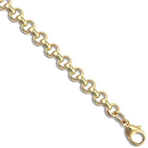 Or 9ct mailles jaseron ronde bracelet 19,1cm