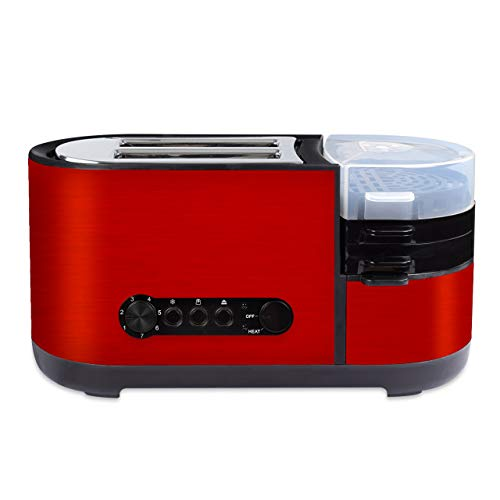 COSSCCI 2 Slice Toaster with Egg Cooker Stainless Steel Red Toaster with Wide Slot Removable Crumb Tray and 7 Shade Setting