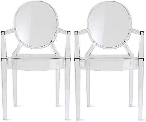 2xhome Set of 2 Clear Louis Ghost Dining Armchairs Polycarbonate Designer Acrylic Transparent Crystal Chair