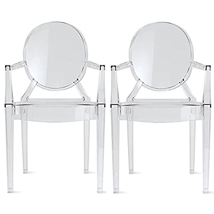 Elegant 2xhome Set Of Two (2)   Clear   Modern Ghost Chair Armchair With Arm