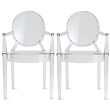 2xhome U2013 Set Of Two (2)   Clear   Modern Ghost Chair Armchair With