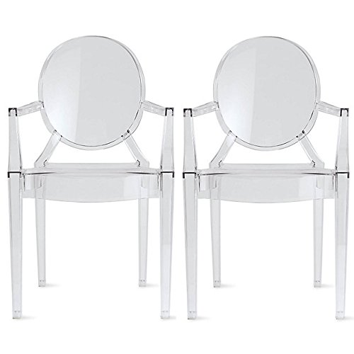 Louis Philippe Dining Room - 2xhome Set of 2 Clear Modern Contemporary Ghost Chairs Chair With Arms Molded Acrylic Plastic Mirrored Furniture Dining Retro For Writing Desk Dining Living Bedroom Outdoor Office Table Vanity Accent