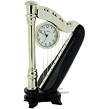 Miniature Black & Silver Tone Metal Harp Novelty Collectors Clock On Stand 9401