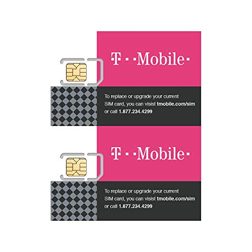 ((2 Pack) Authentic Official T-Mobile SIM Card Micro/Nano/Standard GSM 4G/3G/2G LTE Prepaid/Postpaid Starter Kit Unactivated Talk Text Data & Hotspot)