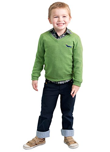 - Dakomoda Toddler Boy's Cashmere Wool Blend Green Sweater V-Neck Elbow Patch 6T