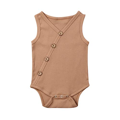 Emmababy Newborn Baby Knit Overalls Romper Vest Shirt Buttons Bodysuit Photography Outfits 3 6 9 12 18 Month (A-Khaki, 0-3M) from Emmababy