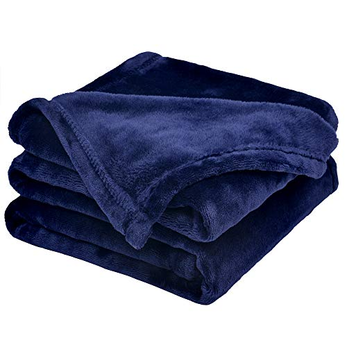 WONTEX Flannel Fleece Throw Blanket Super Soft Lightweight for Couch, Navy, 50 x 60 inch