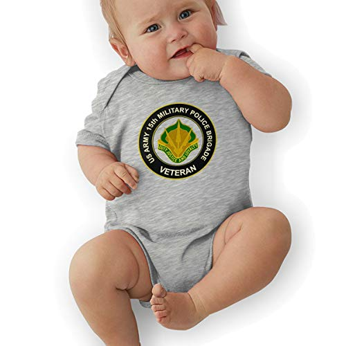 U.S. Army 15th Military Police Brigade Unit Crest Veteran Baby Suits Body Suits Gray