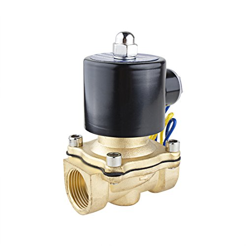 uxcell DC 12V 2W200-20 NPT 3/4 inches Normally Closed 2 Way N/C Brass Solenoid Valve for Water Air Gas Fuels