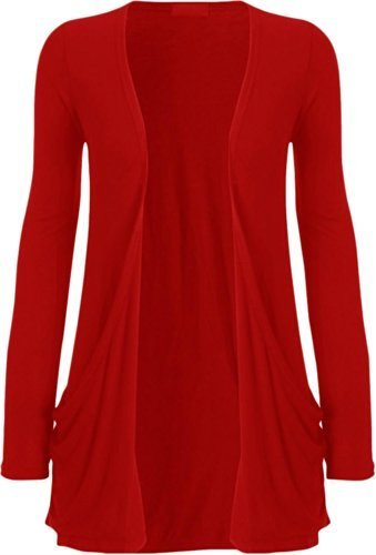 Hot Hanger Ladies Plus Size Pocket Long Sleeve Cardigan 16-26 – Medium – 6-8, Red