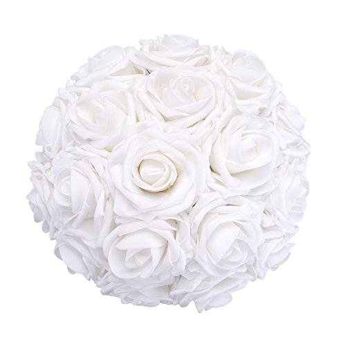Febou Artificial Flowers, 50pcs Real Touch Artificial Foam Roses Decoration DIY for Wedding Bridesmaid Bridal Bouquets Centerpieces, Party Decoration, Home Display (Delicate Type, (White Rose Wedding Bouquets)