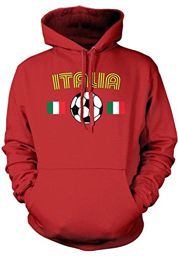 Amdesco Men's Italia Soccer, Love Italian Italy Football Hooded Sweatshirt, Red Large
