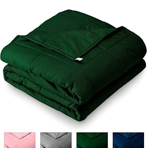 - Bare Home Weighted Blanket 17lb - Standard Size for Kids or Adult - All-Natural 100% Cotton - Heavy Blanket Nontoxic Glass Beads (Green, 60