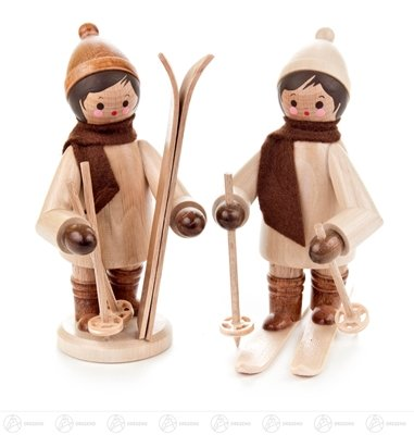 Miniature of children with ski largely more unpainted (2) height of approx. 11.5 cm ore mountains Christmas figure wood figure (Großhandel Ski)