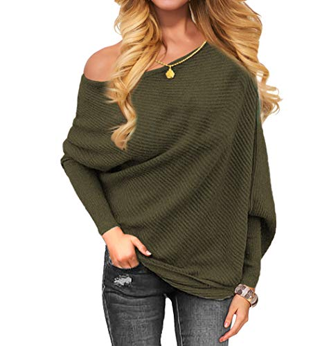 (VOIANLIMO Women's Off Shoulder Knit Jumper Long Sleeve Pullover Baggy Solid Sweater (X-Large, Dark Olive))