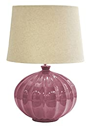 Urban Shop Reactine Glaze Lamp with Faux Linen Shade, Rose
