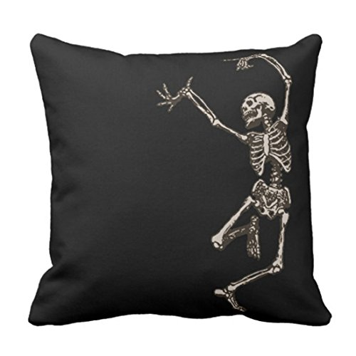 Emvency Throw Pillow Cover Halloween Dancing Skeleton Goth Creepy Skull Cool Holiday Decorative Pillow Case Home Decor Square 20 x 20 Inch Pillowcase