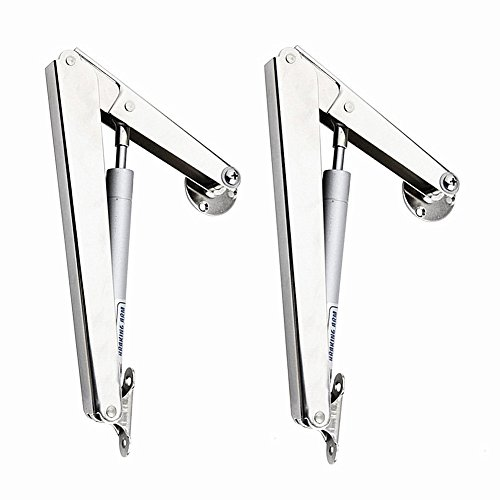 douper 200N/44lb Gas Springs Lid Support Hinge in Satin Nickel Lid Stay Hinge Support on Drop Lids of Desks Cabinets TATAMI Self Adjust Pack of 2
