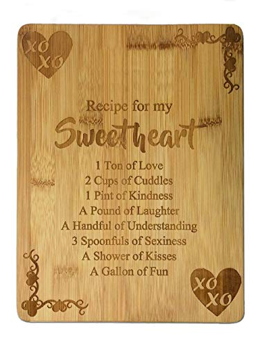 Laser Engraved Bamboo Cutting Board - Recipe for a Sweetheart Cute Funny Laser Engraved Bamboo Cutting Board - Wedding, Housewarming, Anniversary, Birthday, Gift(8.7x11.5, Sweetheart/bamboo2)