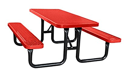6u0027 Rectangular Plastic Coated Metal City Series Picnic Table   Red