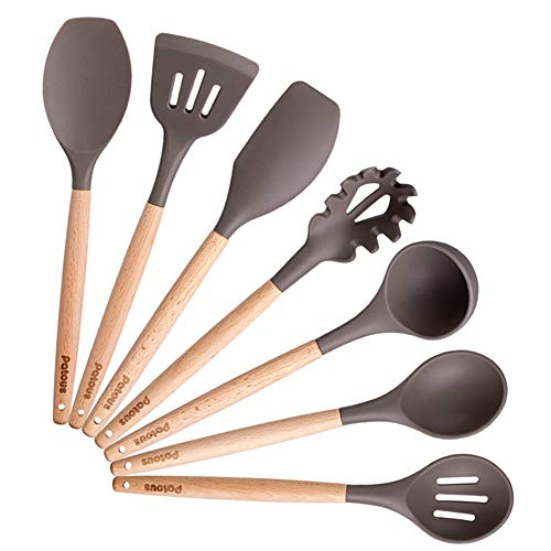 7 Silicone Cooking Utensils Kitchen Utensil Set,Bamboo Wooden Handles Cooking Tools BPA Free Silicone Turner Spatula Spoon Kitchen Gadgets Utensil Set for Nonstick Cookware By Patcus