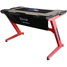 Kinsal Gaming Desk Computer Z-Shaped Desk Table With Fighting LED Ambience Lighting, Racing Table E-sports Durable Gaming Desk Ergonomic Comfortable PC Desk (Red/Black)